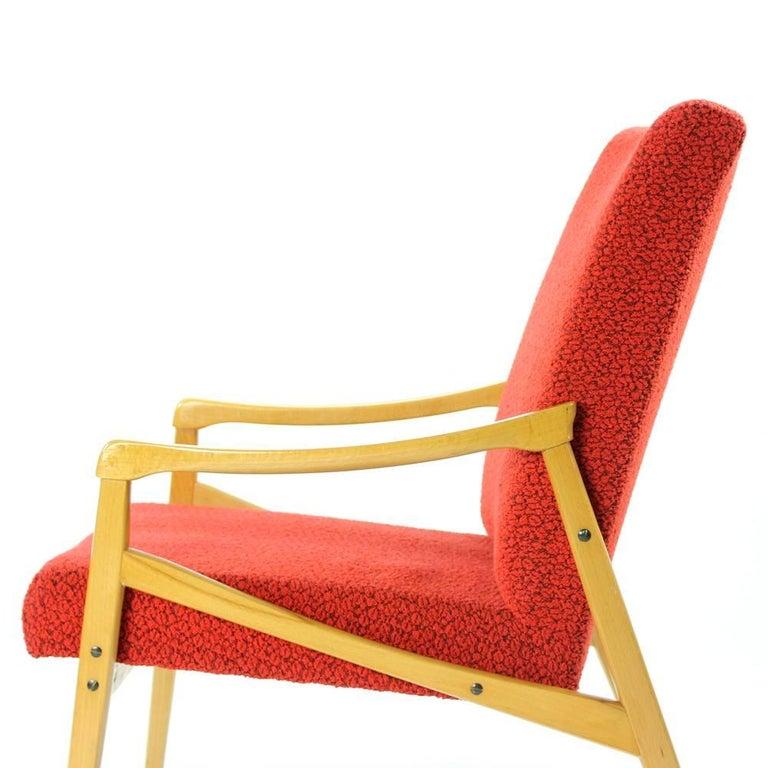 Mid-Century Armchair in Original Red Upholstery, Interier Praha, Czechoslovakia For Sale 1