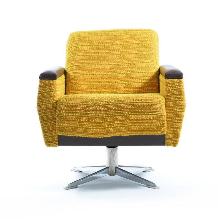 Mid Century Modern Swivel Club Chairs In Fabric And Chrome Czechoslovakia