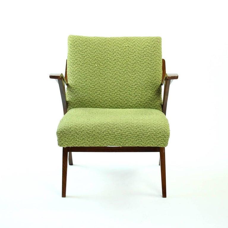 Mid-Century Modern Midcentury Armchairs in Dark Beech, Mier Czechoslovakia, 1964 For Sale