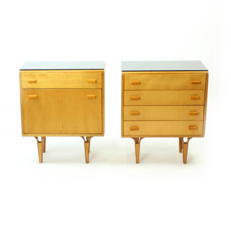 Midcentury Nightstands With Black Opaxite Glass By Novy Domov Czechoslovakia For Sale At 1stdibs
