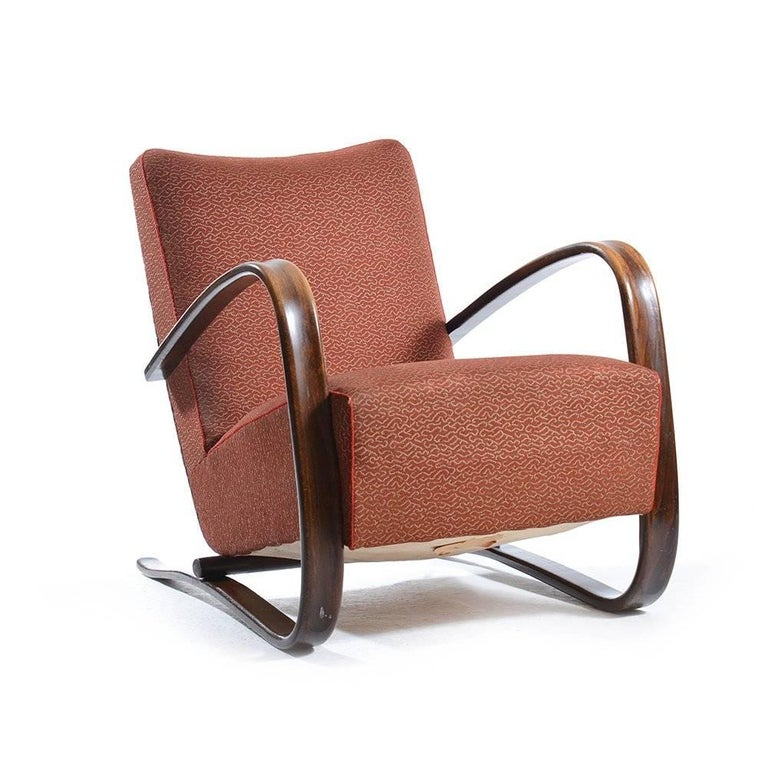 Iconic H-269 chairs by Jjindrich Halabala in very good, original condition. Even after 80 years they show only minor wear on the wooden parts and original upholstery. These chairs are one of the top Czechoslovakian designs of the past, never lost