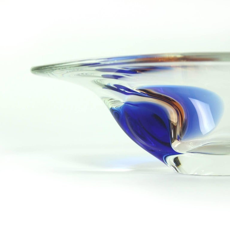 20th Century Clear and Blue Art Glass Bowl by Borocrystal, Czechoslovakia, circa 1960 For Sale