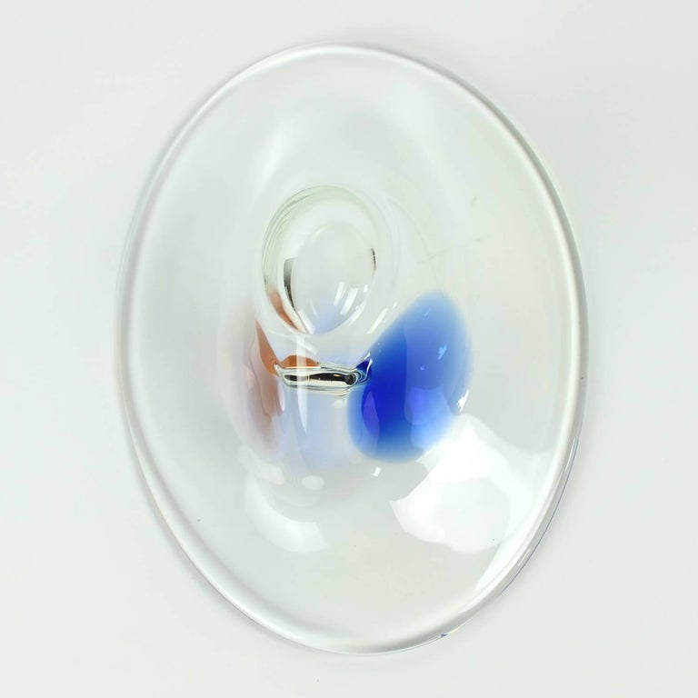 Clear and Blue Art Glass Bowl by Borocrystal, Czechoslovakia, circa 1960 For Sale 2