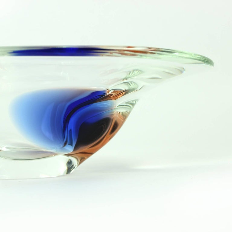 Bohemian Clear and Blue Art Glass Bowl by Borocrystal, Czechoslovakia, circa 1960 For Sale