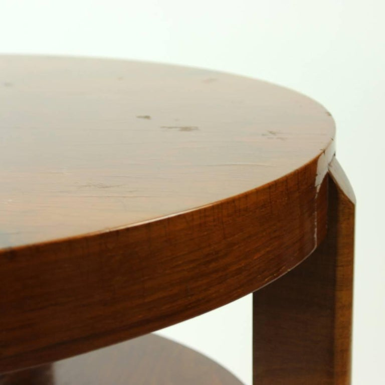 Wood Round Side Table by Jindrich Halabala in Walnut Veneer, Czechoslovakia, 1930s For Sale