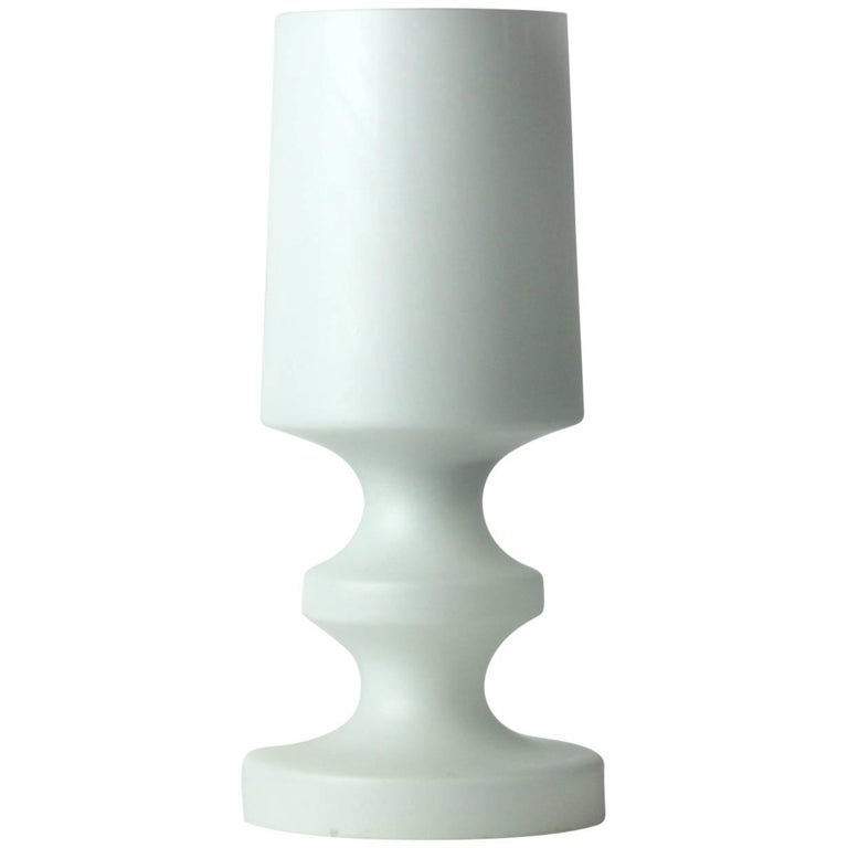 Rare White Glass Table Lamp by Ivan Jakes, Osvetlovaci Sklo, Czechoslovakia 1970