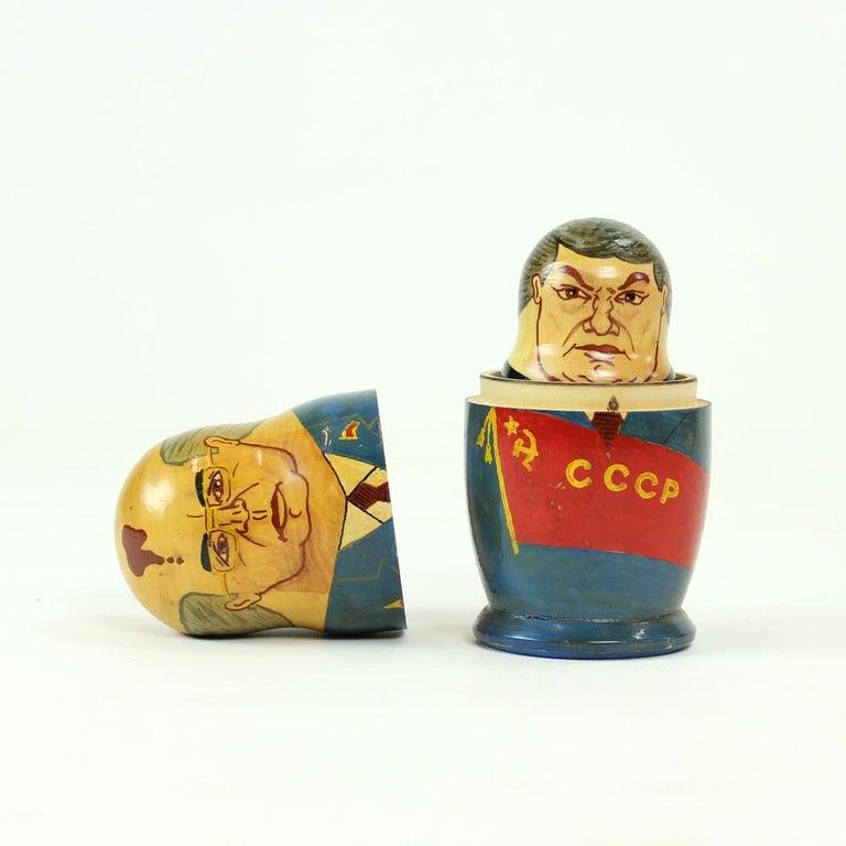 Russian Matryoshka of Soviet Politicians, Soviet Era, USSR, circa 1980s For Sale