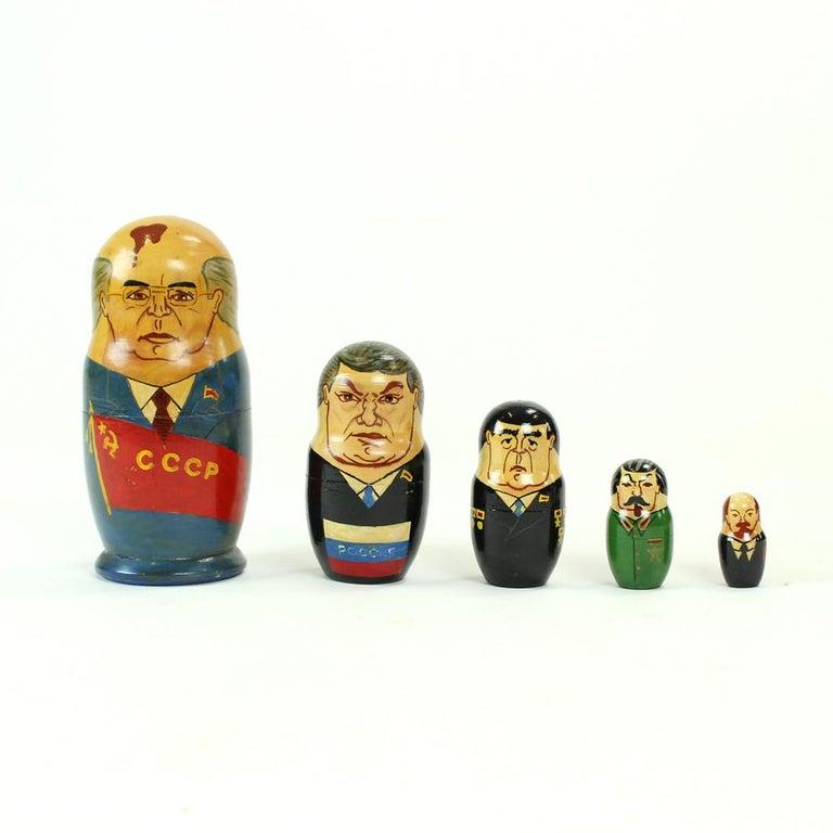 Matryoshka of Soviet Politicians, Soviet Era, USSR, circa 1980s In Excellent Condition For Sale In Zohor, SK