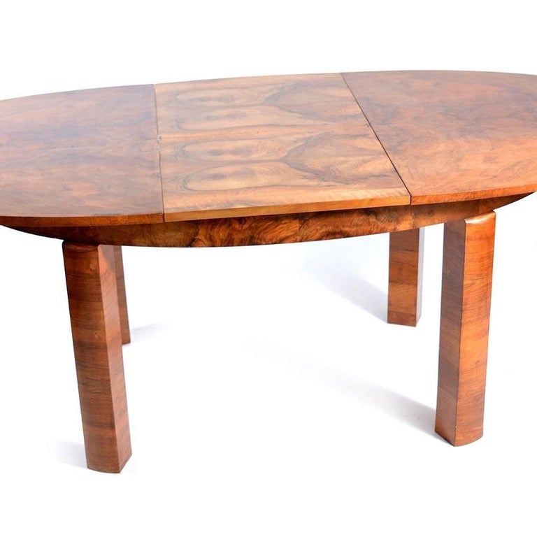 Large Art Deco Fold Out Dining Table In Walnut Veneer