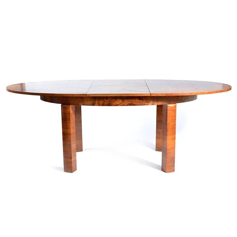 Mid-20th Century Large Art Deco Fold Out Dining Table in Walnut Veneer, Czechoslovakia, 1930s For Sale