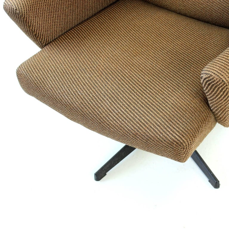 1970s Swivel Wing Chair In Original Brown Fabric
