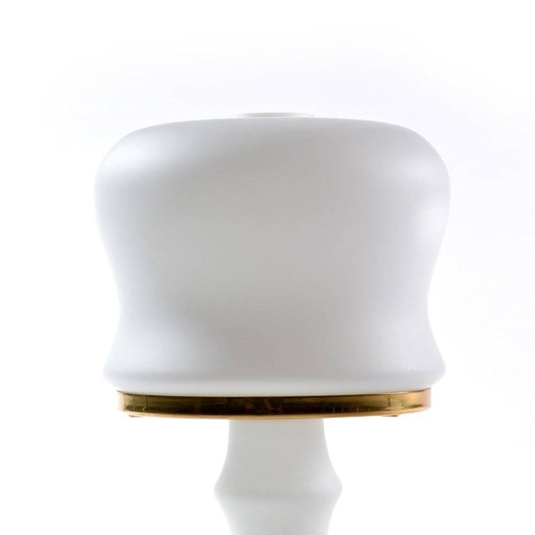 Mid-Century Modern White Glass and Brass Table Lamp, Czechoslovakia circa 1970 For Sale