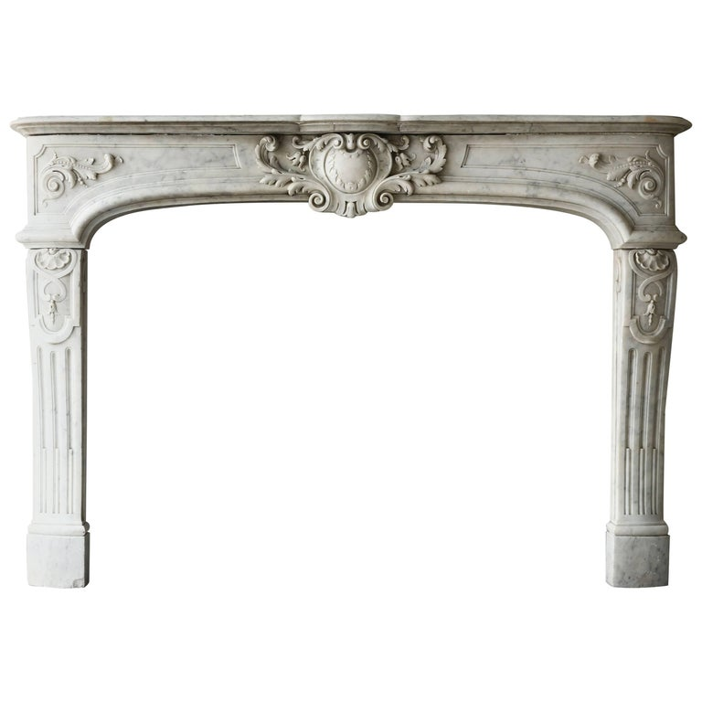 Rare Antique Marble Fireplace of Carrara Marble  For Sale