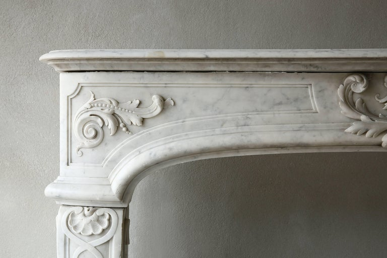 Louis XIV Rare Antique Marble Fireplace of Carrara Marble  For Sale