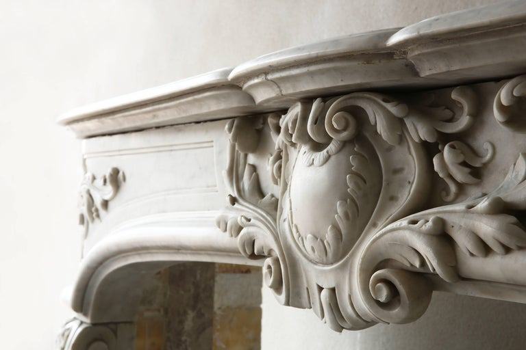 French Rare Antique Marble Fireplace of Carrara Marble  For Sale