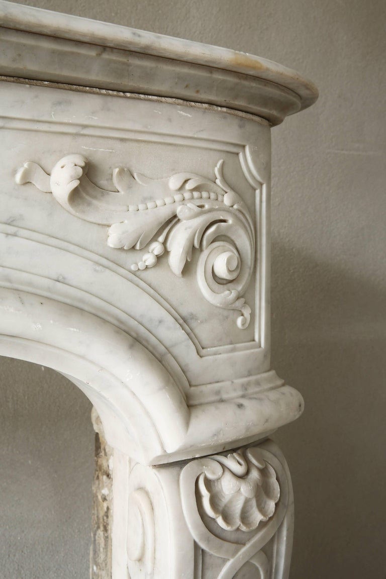 Rare Antique Marble Fireplace of Carrara Marble  For Sale 1