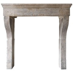 Antique Fireplace of French Limestone in Campagnarde Style