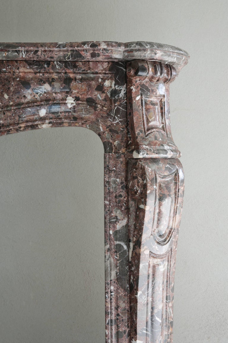 Antique Marble Fireplace, Pompadour style, 19th century In Good Condition For Sale In Made, NL