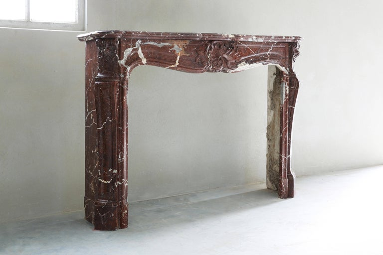 Belgian Antique Marble Fireplace, 19th century, Louis XV For Sale