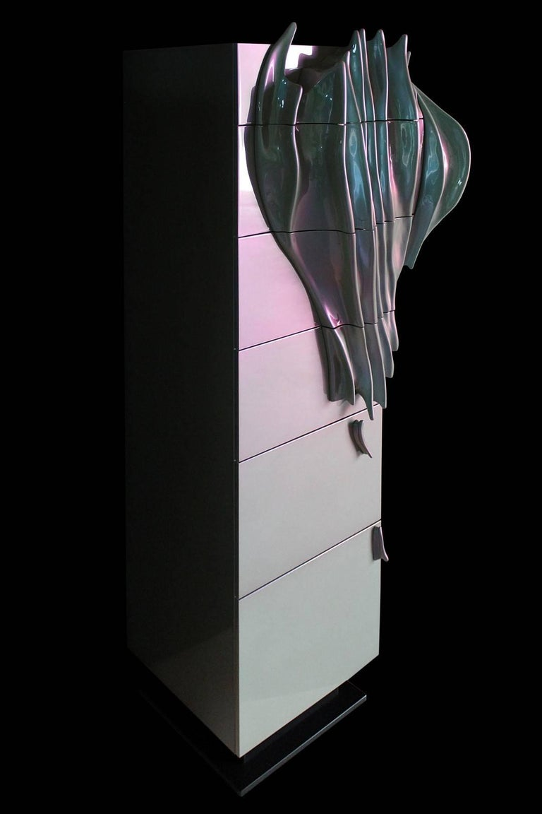 Lacquered 'Algae' Limited Edition Drawer Cabinet from Egli Design For Sale