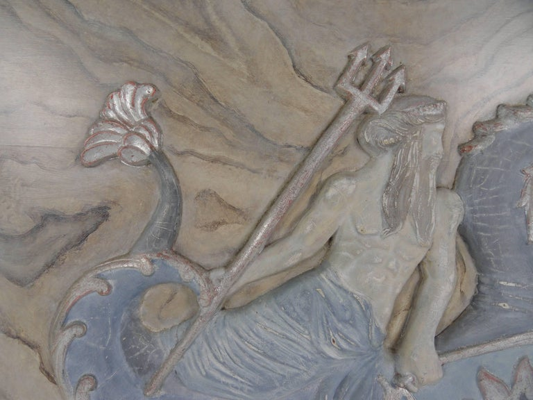 Italian 20th Century Carved Wood Plaque of Poseidon For Sale