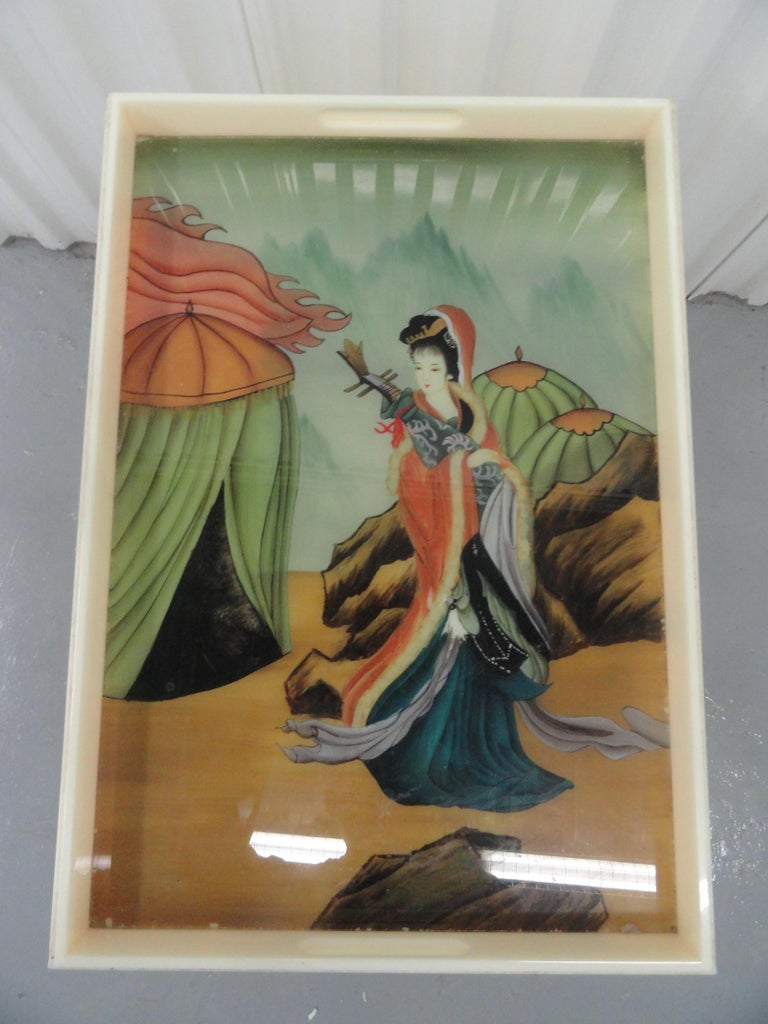 American Custom Acrylic Table with Tray Top with Reverse Glass Painted Art For Sale