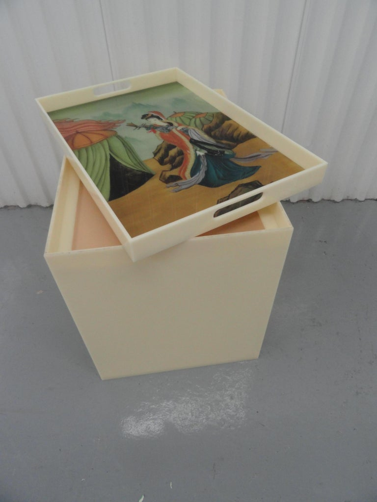 Custom Acrylic Table with Tray Top with Reverse Glass Painted Art In Excellent Condition For Sale In West Palm Beach, FL