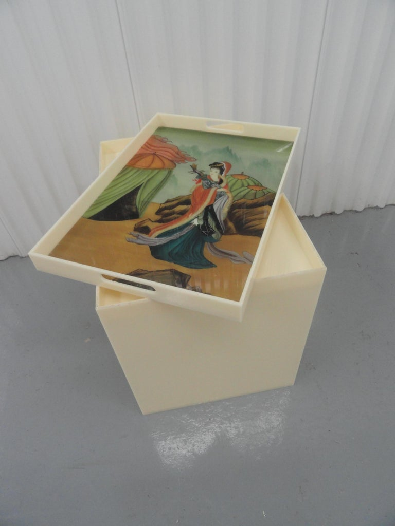 Late 20th Century Custom Acrylic Table with Tray Top with Reverse Glass Painted Art For Sale