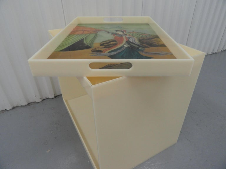 Custom Acrylic Table with Tray Top with Reverse Glass Painted Art For Sale 1