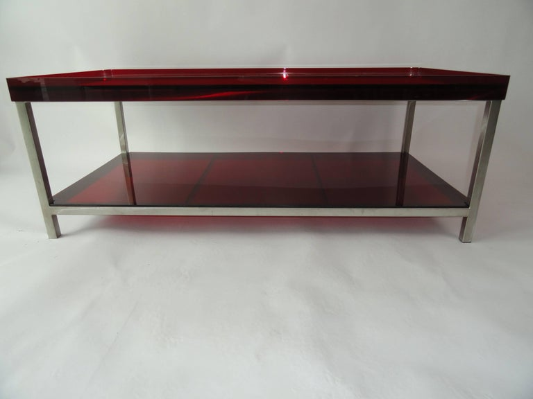 Modern red acrylic coffee table for sale at 1stdibs for Red modern coffee table