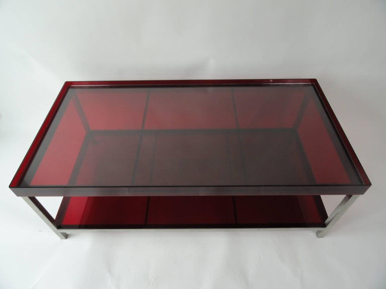 Modern Red Acrylic Coffee Table For Sale At 1stdibs