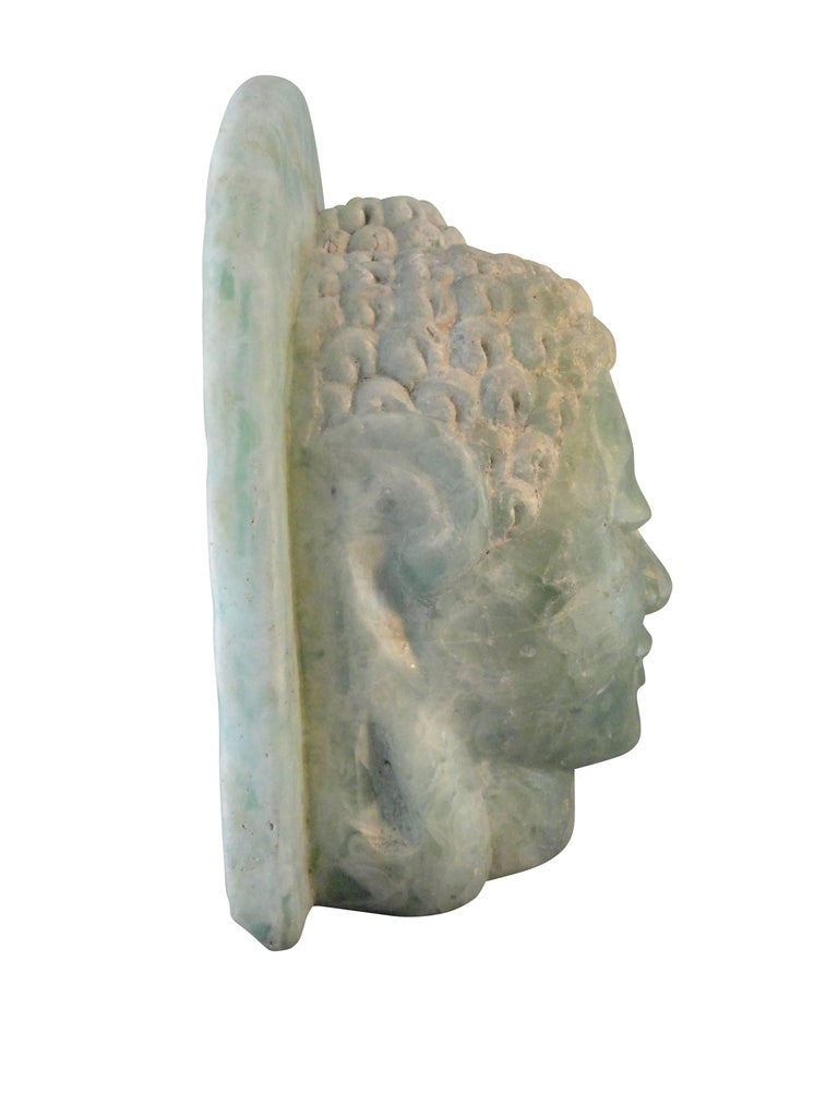 20th century oriental folded glass Buddha head sculpture. Extremely heavy, approximately 250#.