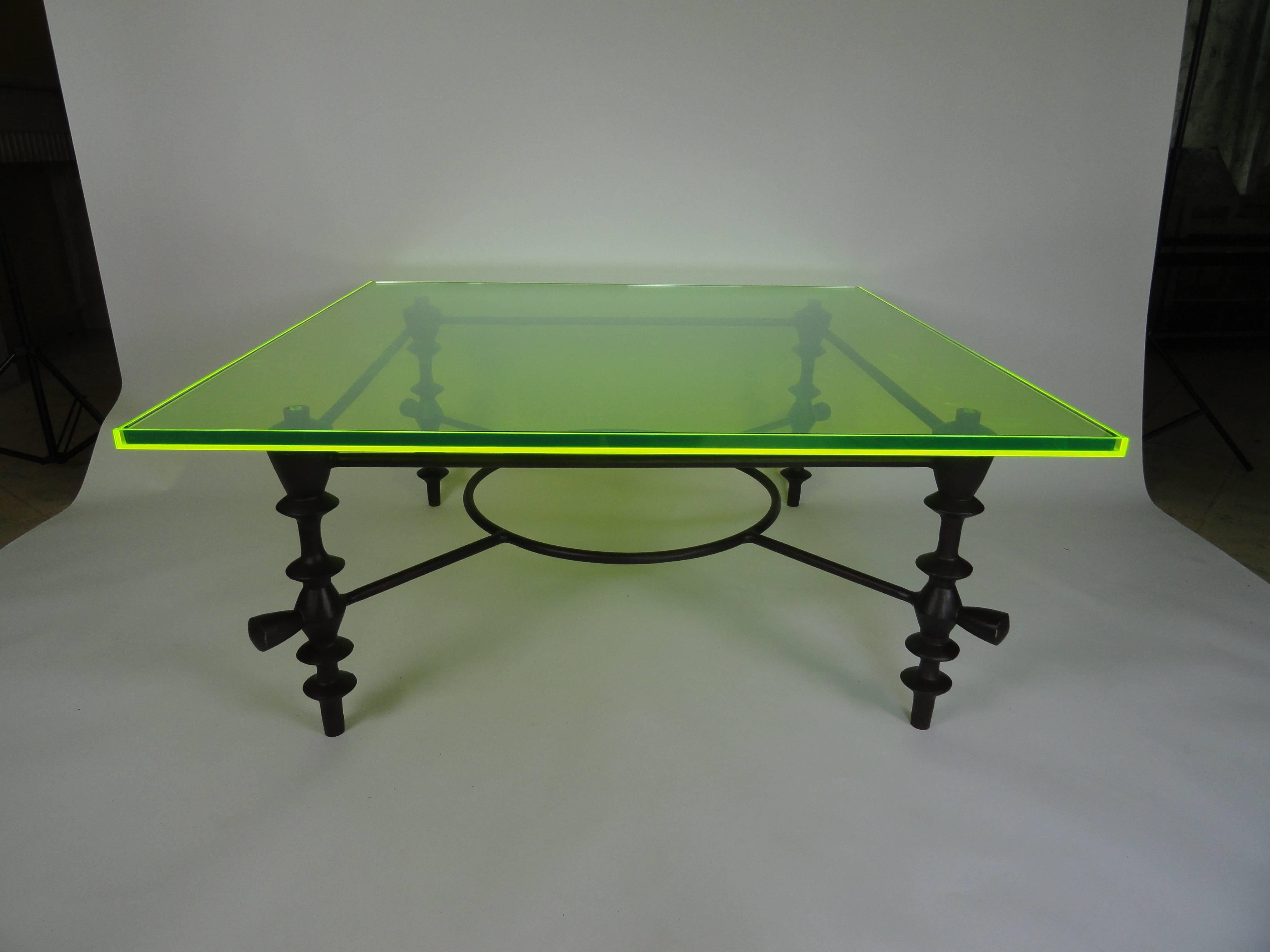Giacometti Style Coffee Table Made Of Metal With A Custom Green Acrylic Top.  The Edges