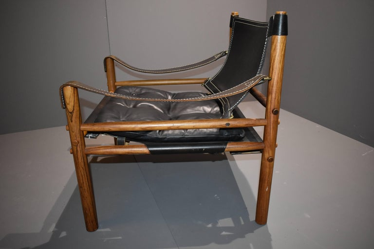 Mid-Century Modern Arne Norell Safari-Lounge Rosewood Chairs Model Sirocco, 1960s For Sale