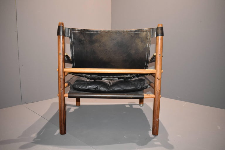 Swedish Arne Norell Safari-Lounge Rosewood Chairs Model Sirocco, 1960s For Sale