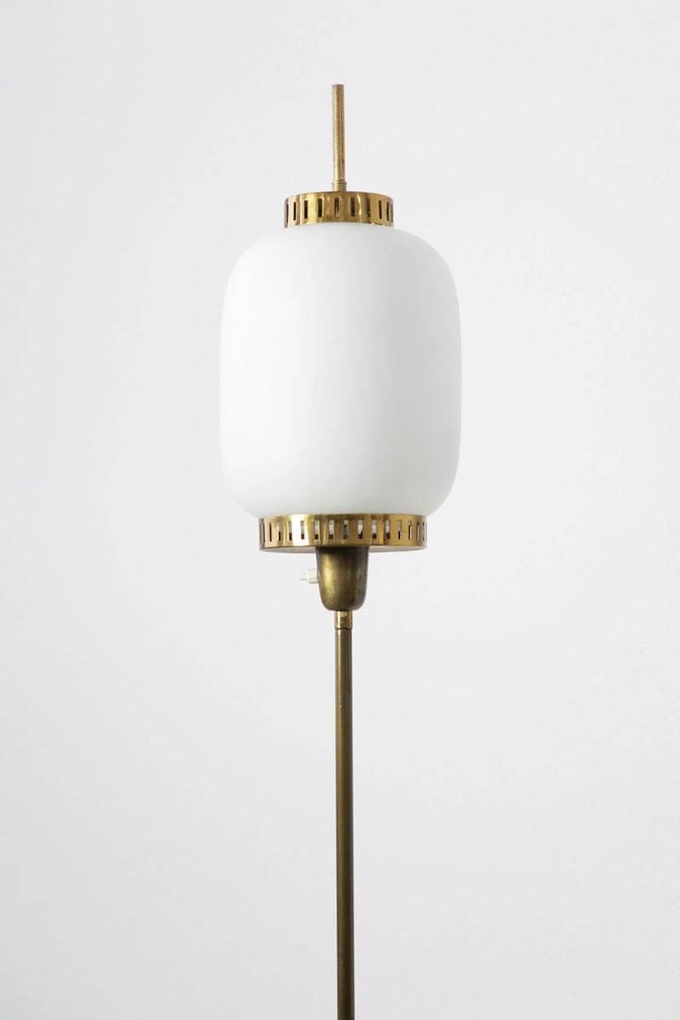Brass Italian Floor Lamp in the Manner of Stilnovo, 1960s For Sale