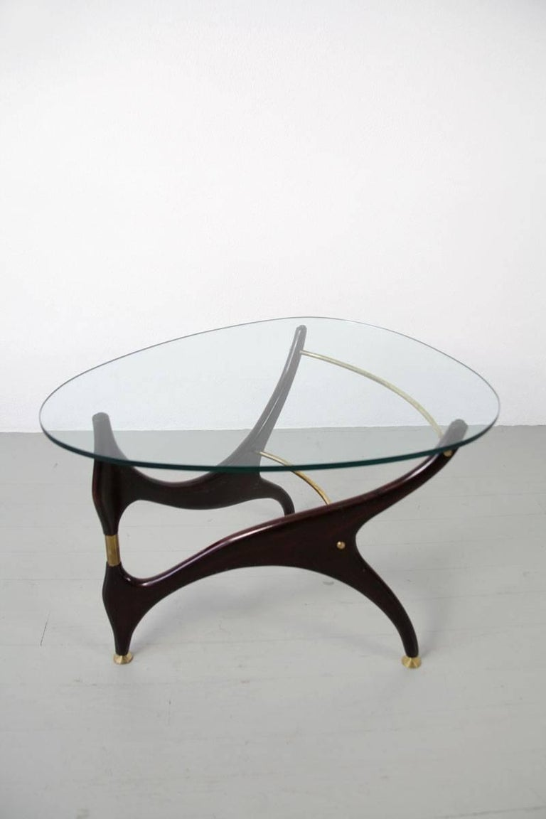 Italian Coffee Table with Glasstop in the Style of Carlo Mollino, 1950s 2