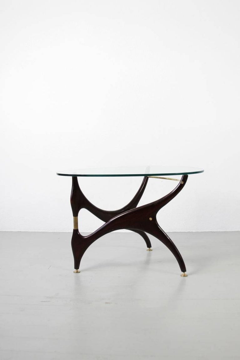 Italian Coffee Table with Glasstop in the Style of Carlo Mollino, 1950s 4