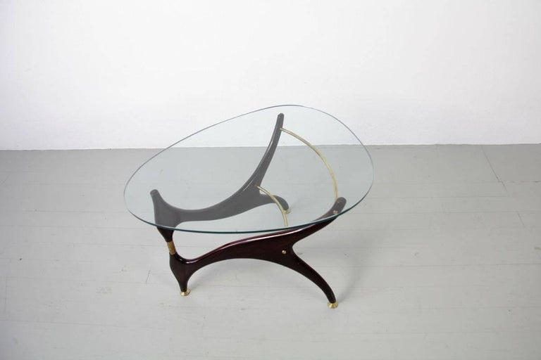 Italian Coffee Table with Glasstop in the Style of Carlo Mollino, 1950s 6
