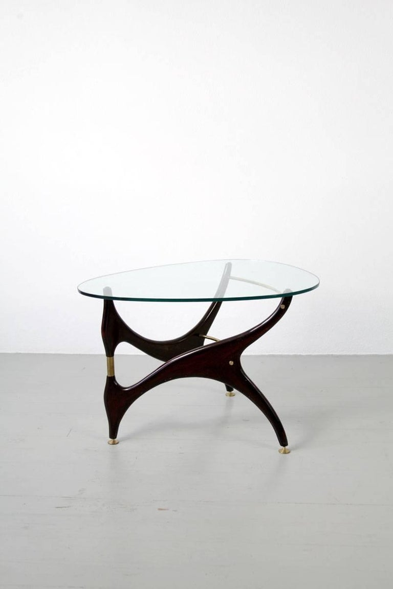 Italian Coffee Table with Glasstop in the Style of Carlo Mollino, 1950s 5