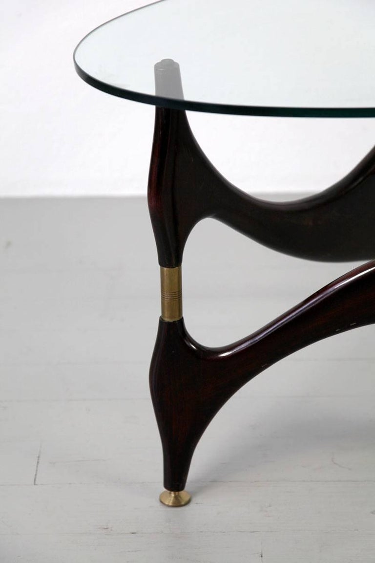 Italian Coffee Table with Glasstop in the Style of Carlo Mollino, 1950s 3