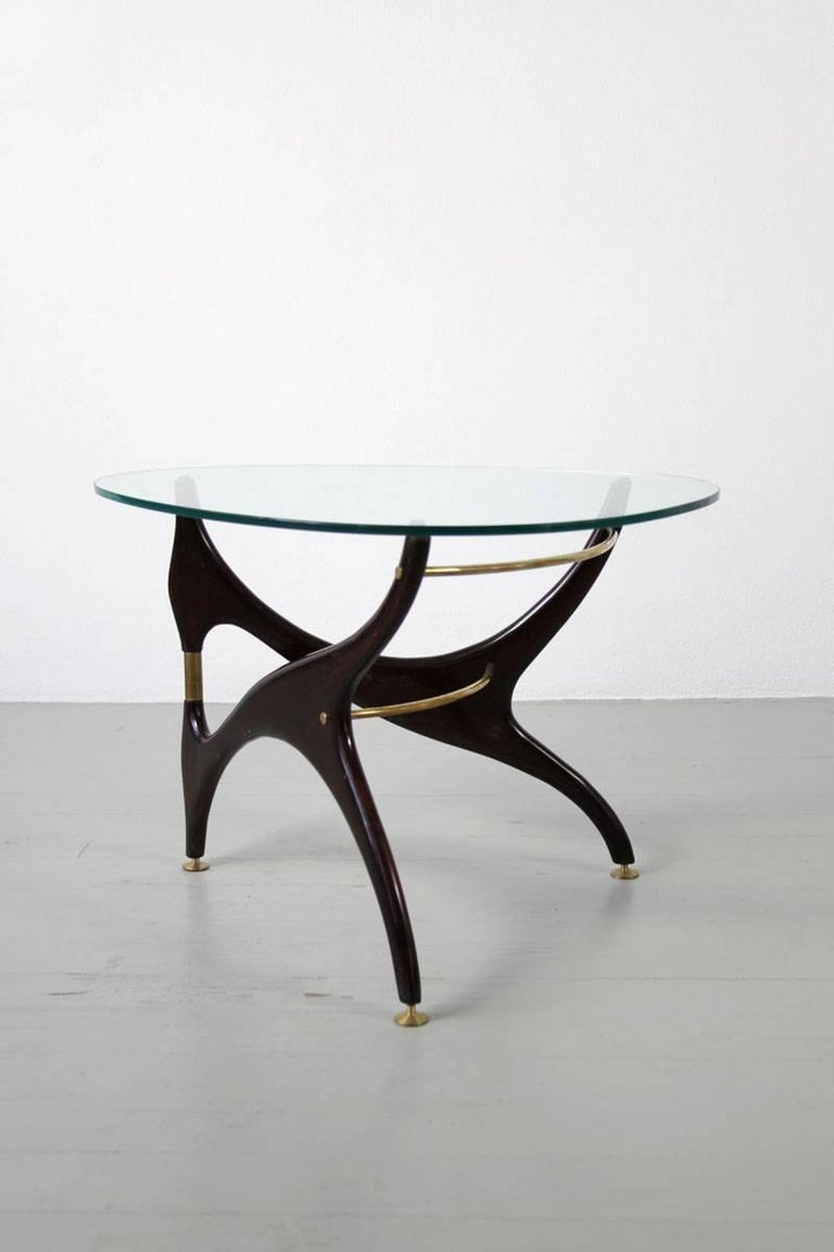 Italian Coffee Table with Glasstop in the Style of Carlo Mollino, 1950s 7
