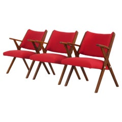 Set of 3 red Italian Vintage Dal Vera Chairs, Italy, 1960s