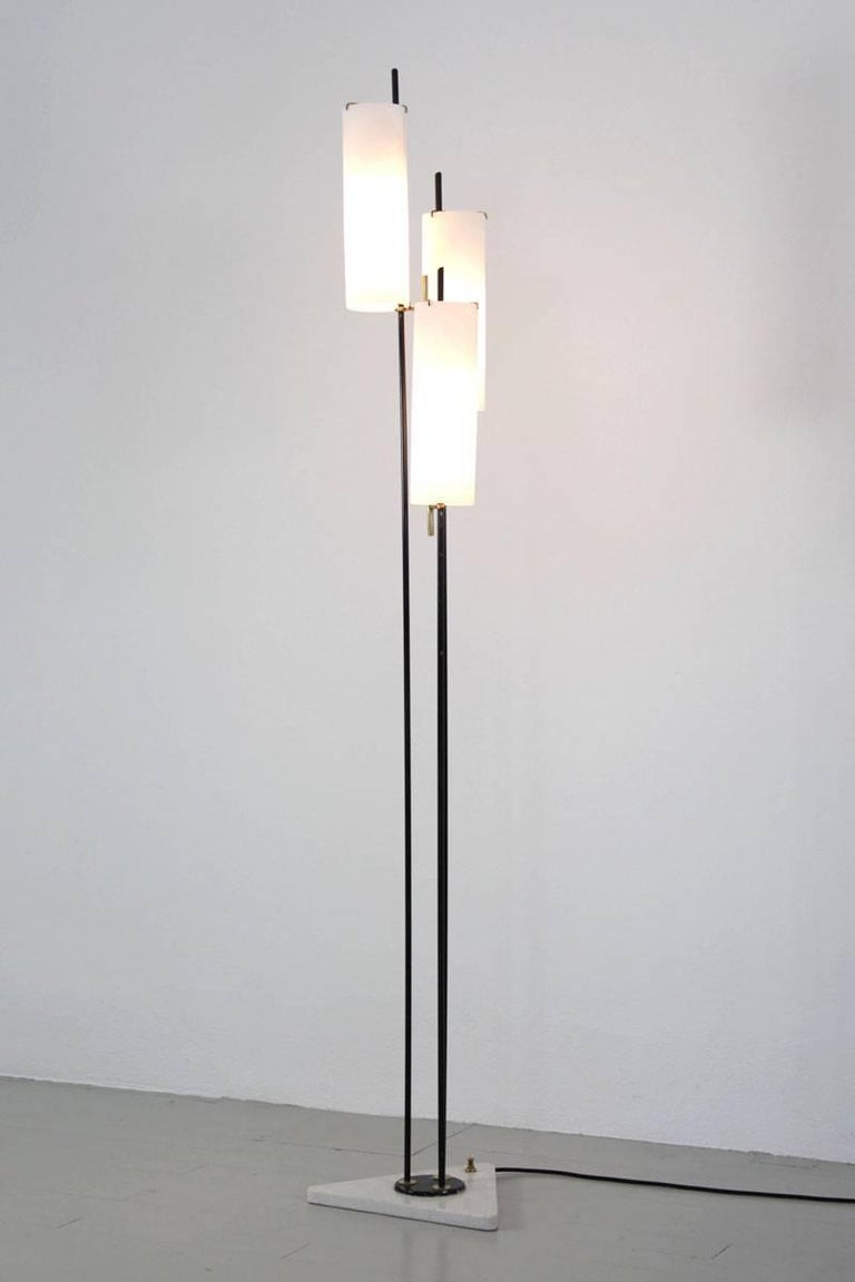 Three shaded opaline glass floor lamp by Stilnovo, 1950s.