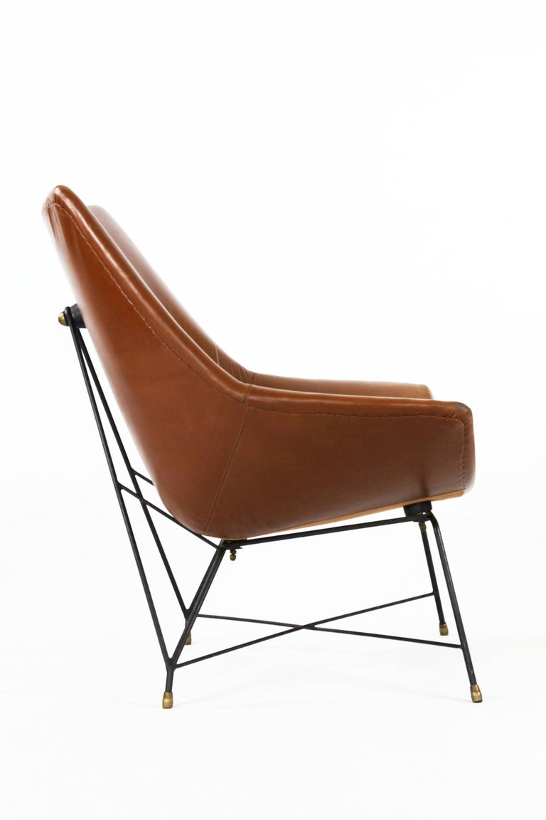 Brass Italian Brown Leather Kosmos Chair Design by Augusto Bozzi for Saporiti, 1954 For Sale