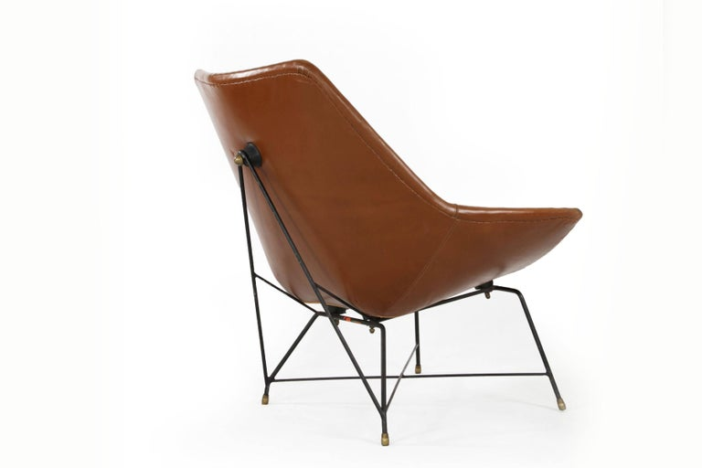Italian Brown Leather Kosmos Chair Design by Augusto Bozzi for Saporiti, 1954 For Sale 1