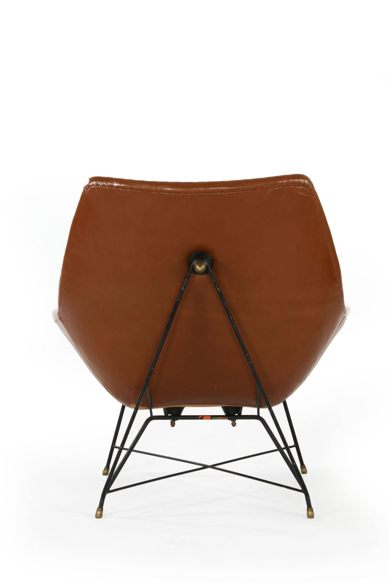 Italian Brown Leather Kosmos Chair Design by Augusto Bozzi for Saporiti, 1954 For Sale 2