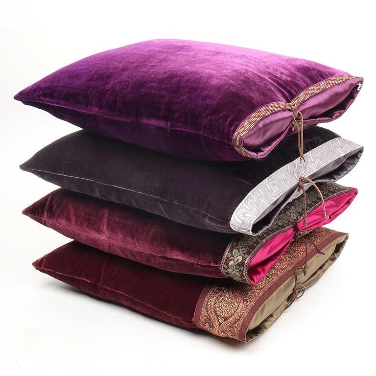 American Silk Velvet Throw Pillow Plum For Sale