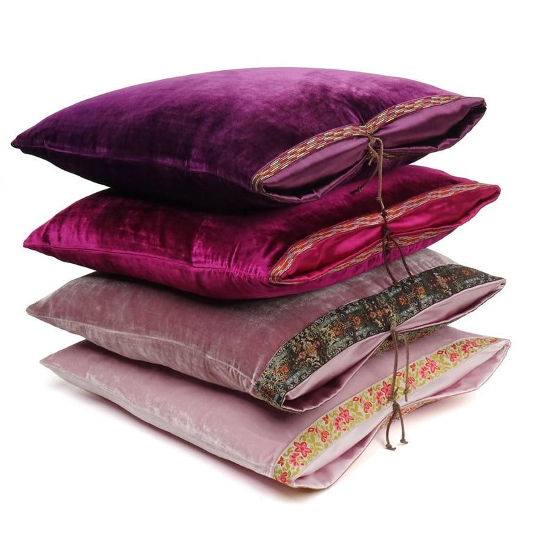 Silk Velvet Throw Pillow Plum In New Condition For Sale In New York, NY
