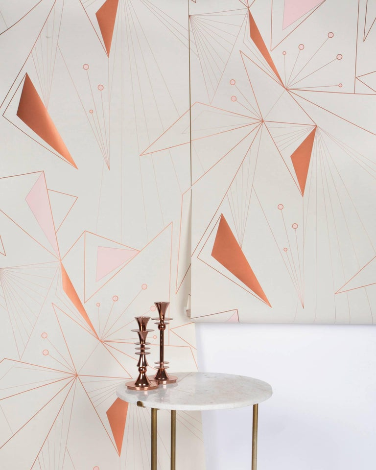 Modern DecoPrism Screen Printed Metallic Copper Blush Wallpaper For Sale